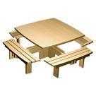"""Acheter Table carrée quatre bancs Gamme """"Style"""" - Châtaignier au meilleur prix"""