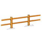 Acheter Clôture haute à poteaux rainurés et 2 lisses rectangulaires - Châtaignier au meilleur prix