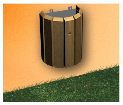 corbeille fixer contre un mur ch taignier r f co209 corbeille et jardini re corbeille. Black Bedroom Furniture Sets. Home Design Ideas