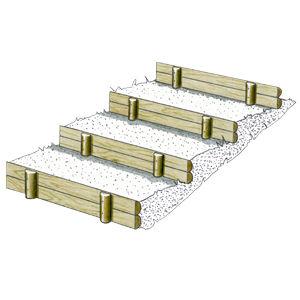 grandes marches d 39 escalier et bordures en 2 demi rondins solution pin r f d1085b. Black Bedroom Furniture Sets. Home Design Ideas