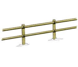 Clôture haute à 2 lisses demi-rondes - Solution Pin