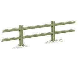 Clôture haute à poteaux rainurés et 2 lisses rectangulaires - Solution Pin