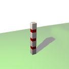 Acheter Borne carrée de balisage à 3 bandes rouges rétro-réfléchissantes - Châtaignier au meilleur prix