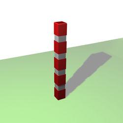 Borne carrée de balisage à 4 bandes blanches rétro-réfléchissantes - Châtaignier