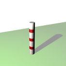 Borne ronde de balisage à 3 bandes rouges rétro-réfléchissantes - Solution Pin