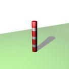 Borne ronde de balisage à 3 bandes blanches rétro-réfléchissantes - Solution Pin