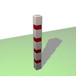 Borne carrée de balisage à 4 bandes rouges rétro-réfléchissantes - Châtaignier
