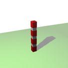 Borne carrée de balisage à 3 bandes blanches rétro-réfléchissantes - Solution Pin
